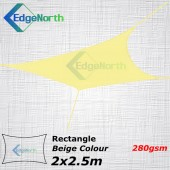 Rectangle Shade Sail - Beige / Sand Colour 2x2.5m 280gsm
