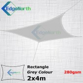 Rectangle Shade Sail - Grey Colour 2x4m 280gsm Outdoor Canopy