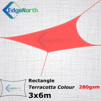 Rectangle Shade Sail- Red / Terracotta 3x6m 280gsm Canopy