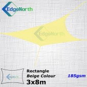 Rectangle Shade Sail - Beige / Sand Colour 3x8m 185gsm