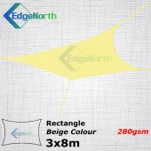 Rectangle Shade Sail - Beige / Sand Colour 3x8m 280gsm Canopy