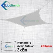 Rectangle Shade Sail - Grey Colour 3x8m 280gsm Outdoor Canopy