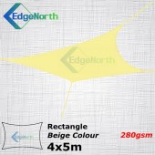 Rectangle Shade Sail - Beige / Sand Colour 4x5m 280gsm Canopy