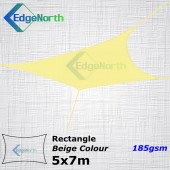 Rectangle Shade Sail - Beige / Sand Colour 5x7m 185gsm