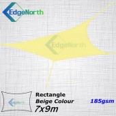 Rectangle Shade Sail - Beige / Sand Colour 7x9m 185gsm
