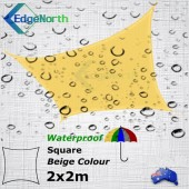 Waterproof Square Shade Sail - Beige Sand 2x2m Outdoor Canopy