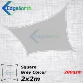 Extra Heavy Duty Square Shade Sail - Grey 2x2m 280gsm Outdoor Canopy