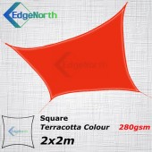 Extra Heavy Duty Square Shade Sail- Red Terracotta 2x2m 280gsm Outdoor Canopy