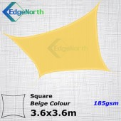 Shade Sail Square Shade Sail - Sand / Beige Colour 3.6x3.6m 185gsm