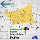 Waterproof Square Shade Sail - Beige / Sand 5x5m Outdoor Canopy