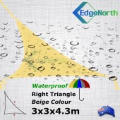Waterproof Right Triangle Shade Sail - Sand 3x3x4.3m Outdoor Canopy