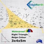 Waterproof Right Triangle Shade Sail - Beige / Sand 3x4x5m Outdoor Canopy