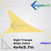 Right Triangle Shade Sail-Sand / Beige Colour 4x4x5.7m 185gsm