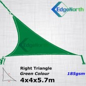 New Shade Sail Right Triangle Shade Sail - Green 4x4x5.7m 185gsm