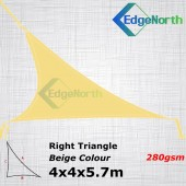 Right Triangle Shade Sail - Beige/Sand Colour 4x4x5.7m 280gsm Canopy