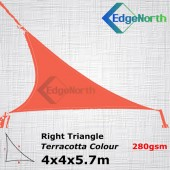 Right Triangle Shade Sail - Red / Terracotta 4x4x5.7m 280gsm Canopy