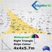 Waterproof Right Triangle Shade Sail - Beige Sand 4x4x5.7m Outdoor Canopy