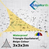 Waterproof Triangle Shade Sail - Sand Colour 3x3x3m Outdoor Canopy