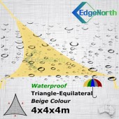 Waterproof Triangle Shade Sail - Sand Colour 4x4x4m Outdoor Canopy